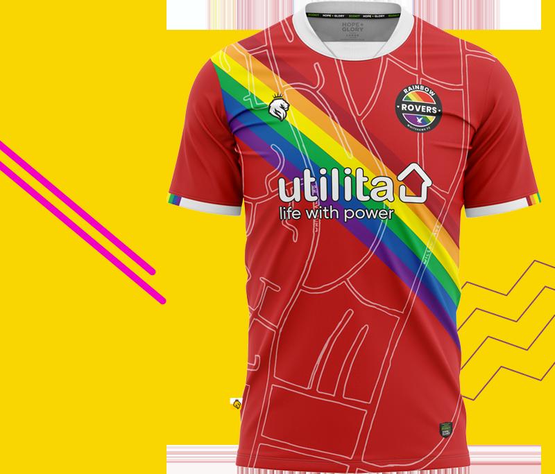 The Rainbow Rovers football shirt
