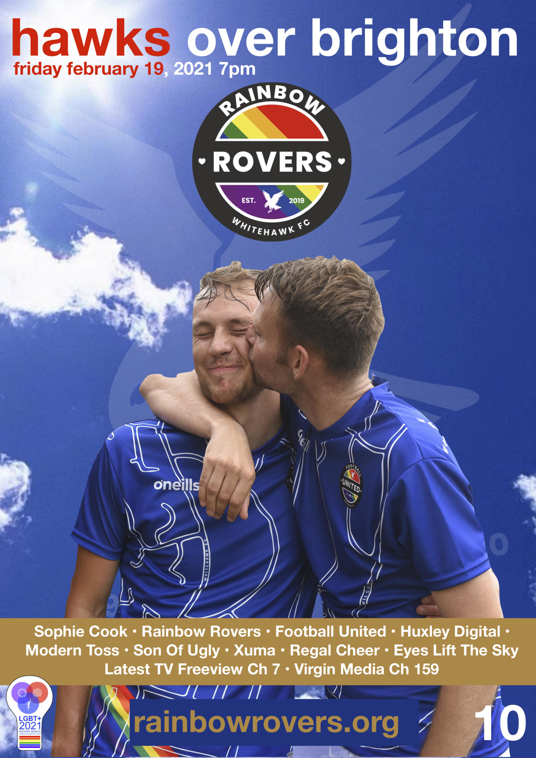 Hawks Over Brighton poster showing two members of the Rainbow Rovers football club