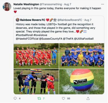 Natalie Washington praises her experience of the game on Twitter